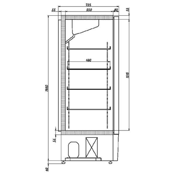 Холодильный шкаф Ариада Рапсодия R700V (глухой) схема