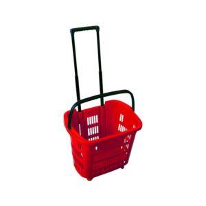 Корзина покупательская на колесах PLD-30 (красный с выдвижной ручкой)